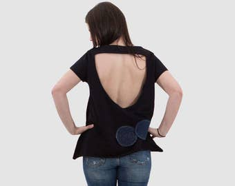 Black organic cotton top/ women short sleeves top / black top with grub applique design/ summer top/ black open back top/ cotton loose top