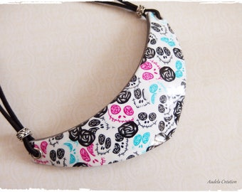 Skull mr Jack made entirely of polymer clay bib necklace. Skull necklace