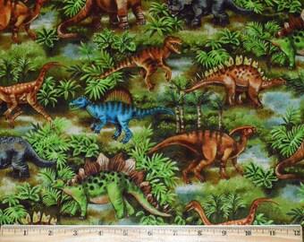 DINOSAUR FABRIC / 1/2 Yard For Quilting / Raptor - Stegosaurus - Tyrannosaurus Rex