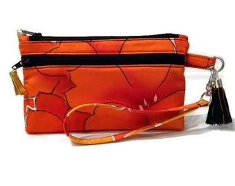 Orange Silk iPhone 6s Purse,  Floral Japanese Kimono Silk Purse, Cell Phone Wristlet Bag, Orange Zipper Purse