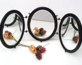 Antique Wood Framed Mirrors | Tri Fold Mirror | Oval Vanity Mirrors | Beveled Shaving Mirrors | 3 Panel Wall Mirror | Table Top Mirrors