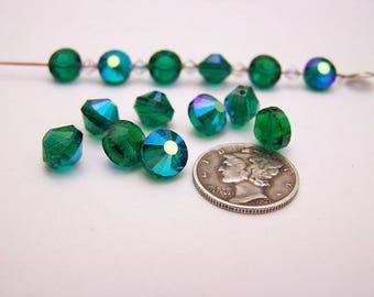 Swarovski 5101 Emerald AB 8mm Vintage Crystal Beads (6 pieces)