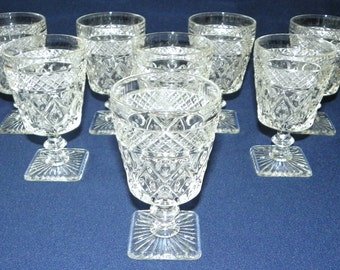 """Imperial Glass, Set of 8 CAPE COD, 8 oz Water or Wine Glasses, 5 1/2"""" Holds 8 oz bDiamond Footed Cocktail Goblets, Square Base"""