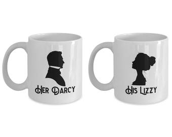 Her Darcy and His Lizzy Mug SET OF TWO Gift Couples Pride and Prejudice Jane Austen Darcy Coffee Cup
