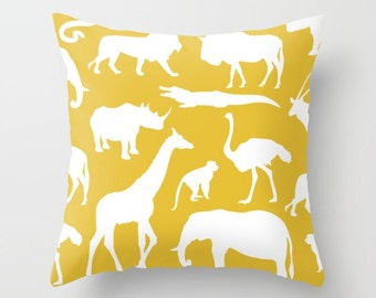 Safari Animals Pillow With Insert - African Animals Pillow Cover - Safari Decor - Yellow Pillow Cover - Boy Bedroom Decor - Accent Pillow