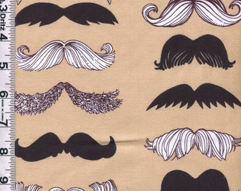 Fabric Alexander Henry Where's my Stache mens mustache steam punk movember moustache on tan 24 inches piece