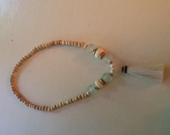 White Horse Tail Tassel necklace with aqua sea glass