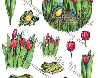 Frogs and Tulips - Elements of Collage - Digital Printable PDF