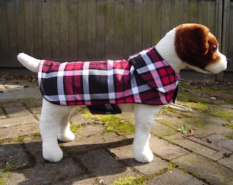 Flannel Black and Red Plaid Coat- Size  Small- 12 to 14 Inch Back Length- Or Custom Size