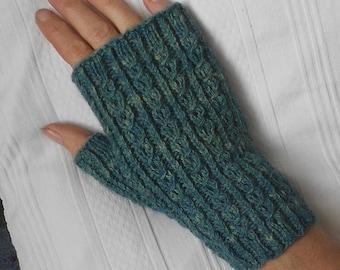 Handspun, handknit fingerless mitts