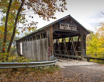 Whites Covered Bridge on the Flat River in Autumn near Lowell Michigan No. 0350 Fall Wall Decor Color Landscape Fine Art Photography