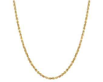 """14K Gold Rope Chain Necklace, Rope Chain,  1mm, 16"""", 22"""", 24"""" with Lobster Clasp"""