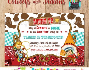COWBOYS and INDIANS invitation  - You Print
