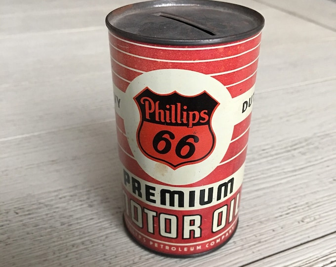 Vintage Phillips 66 Motor Oil Can Advertising Bank
