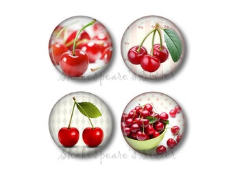 Cherry Kitchen - Fridge Magnets - Cherry Magnets - 4 Magnets - 1.5 Inch Magnets - Kitchen Magnets