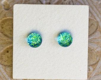 Dichroic Glass Earrings , Petite, Aqua Green  DGE-1417