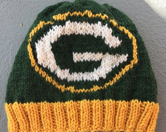 Green Bay Packers Logo Beanie Hat PATTERN - Ribbed Brim Intarsia Knit in Rows
