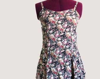 Vtg Calico Prairie Dress