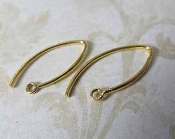 Bali 24k Gold Vermeil 20mm V-Shaped 20 gauge Earring Wires (1 pair)