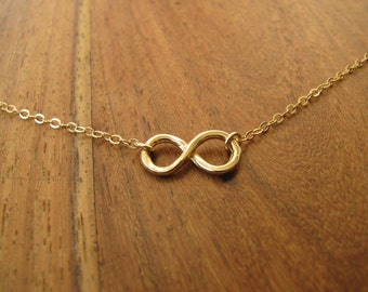 Infinity necklace, gold infinity, gold necklace, eternity necklace, everyday jewelry, best friends, simple handmade jewelry