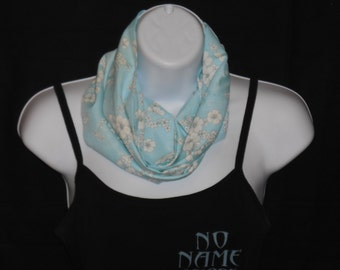 Chldren's Light Blue with White Flowers Infinity Scarf