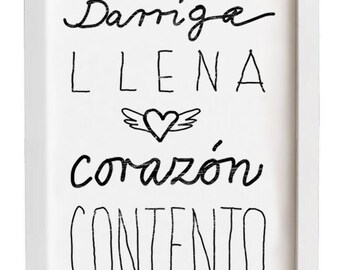 "Spanish Saying 11""x15"" Kitchen Art typography - Barriga llena corazón contento - archival fine art giclée print"
