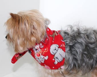 Love Dog Bandana, S M Lg tie-on Love dog with glitter Print Red reversible fashion dog clothes
