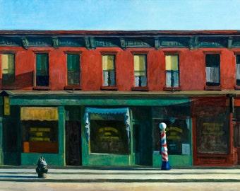 Edward Hopper, Early Sunday Morning, 1930, Canvas Print or Art Print, Vintage Antique Retro Giclee Artwork Wall Poster Barber Shop Street