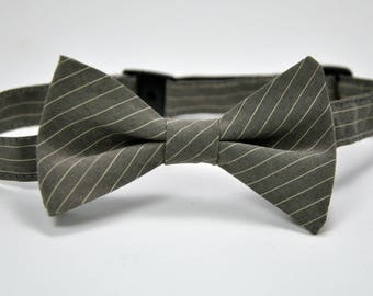 Gray Striped Boy's Bow Tie Ready To Ship