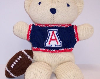 Bear, University of Arizona Bear, Hand Knitted Bear, Baby Boy Bear, Baby Shower Gift, Keepsake Bear, Souvenir Bear, Father's Day, Graduation