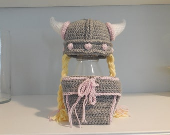Girl Viking Hat and Diaper Cover Set