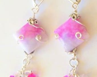 Pink Purple Jade Wire Wrapped Earrings with Crystal Beads