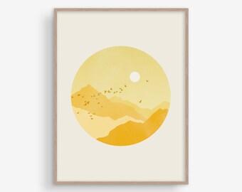 Art mural jaune, impression scandinave, Wall Decor salle de séjour, grand Wall Art, Mid Century Modern Art, mur chambre Art, impression de montagne, soleil
