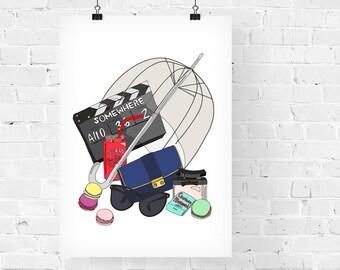 Sofia Coppola What's in my Bag Portrait Fashion Illustration Art Print
