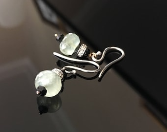 Gold Earrings in  Prasiolite and diamonds pave and Black Spinel