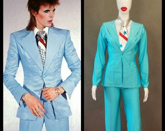 """MADE TO ORDER David Bowie / Ziggy Stardust Light Blue """"Suit-like"""" Jacket/Matching Pants w/Silver Metallic Tie for Women"""
