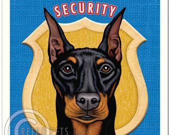 11x14 Doberman Pinscher Art - Doberman Security - Art print by Krista Brooks