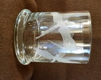 Dragonflies Candle Holder/Vase, Desk Organizer/Hand Etched & Signed