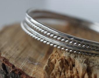 Bangle Bracelet - Silver Bangle Set, Stacking Bangles, Thin Silver Bangles, Hammered Bangles, Gift for Her, Minimalist Bracelet