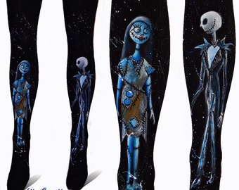 Nightmare before Christmas Leggings, Jack and Sally design, Hand painted tights