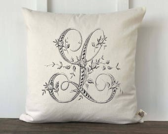 Monogrammed pillow cover, French Farmhouse pillow, Decorative Pillow, Vintage Pillow, Wedding Gift, Anniversary Gift, Housewarming Gift