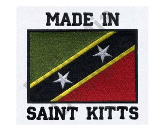 Saint Kitts And Nevis - Machine Embroidery Design, Made In Saint Kitts