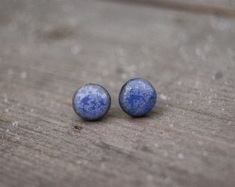 Navy blue ceramic round stud earrings, Ceramic stud, Navy blue stud, Navy blue earrings, ceramic earrings, surgical steel posts, gift idea
