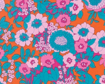 Jennifer Paganelli fabric Hotel Frederiksted Mabel Orange pink blue floral JP121 Freespirit 100% Cotton sewing/quilting fabric by the yard