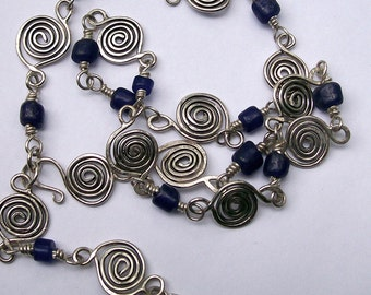 Sterling Spiral Chain With Blue Recycled African Glass Beads