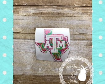 Texas A&M Lilly Pulitzer Inspired Vinyl Decal