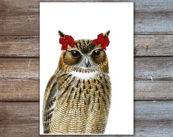 Owl with Red Bow Art, girlie Print Poster 8x10 or A4 size