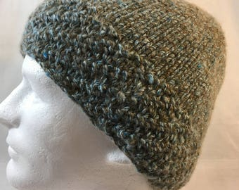 Hand knit slouch hat, alpaca and bamboo, brown and blue knit hat; warm alpaca blend hat