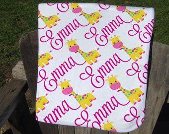 Giraffe Personalized Baby Blanket - Giraffe Receiving Blanket - Giraffe Name Blanket for Girls - Infant Swaddling Blanket - Baby Shower Gift