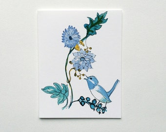 Blue Bird and Flower Note Cards